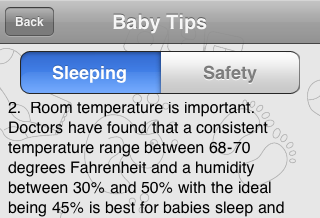 baby tips screen shot