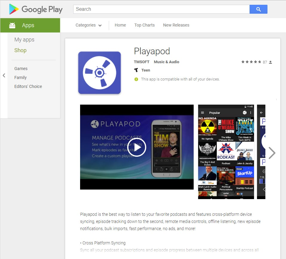 Playapod Featured on the Google Play Store