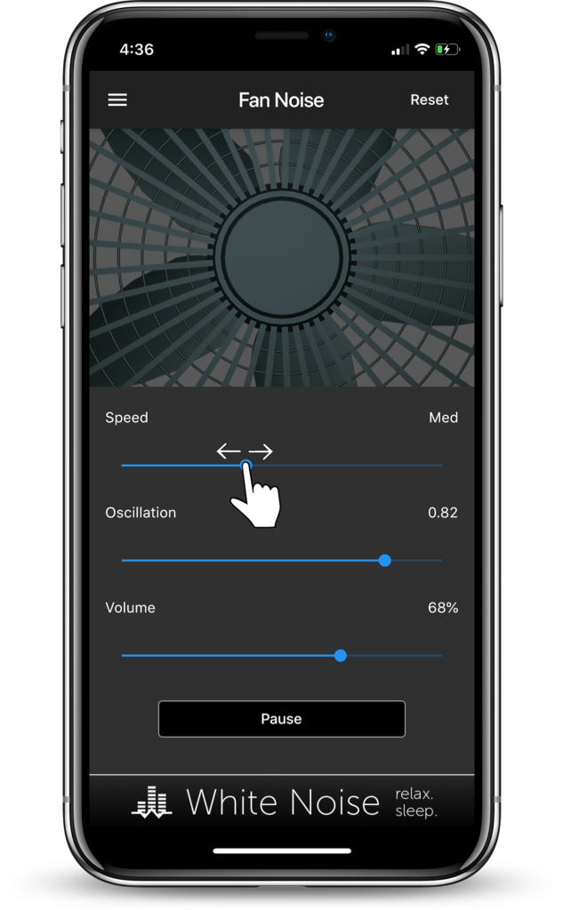Fan Noise Generator App changing speed of fan motor